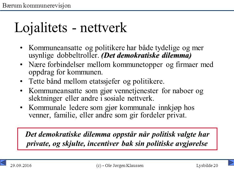 Bærum kommunerevisjon 29.09.2016(c) - Ole Jørgen KlaussenLysbilde 20 Lojalitets - nettverk (Det demokratiske dilemma)Kommuneansatte og politikere har både tydelige og mer usynlige dobbeltroller.
