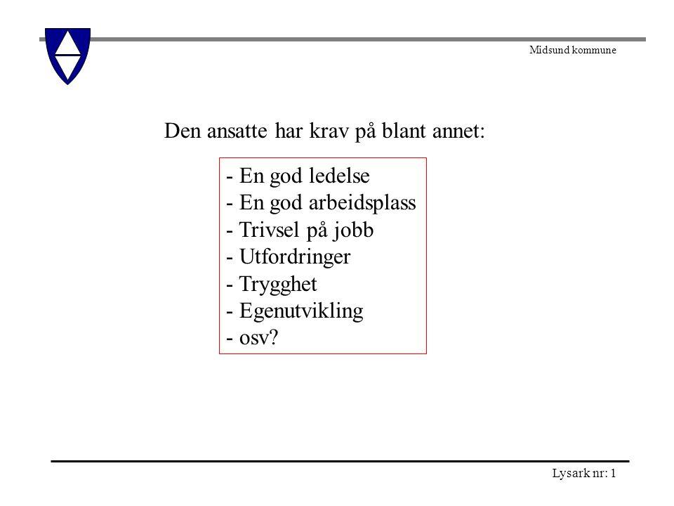Midsund kommune Lysark nr: 2 Tenk etter : 1.Hvor fleksible er tjenestene i Midsund kommune.