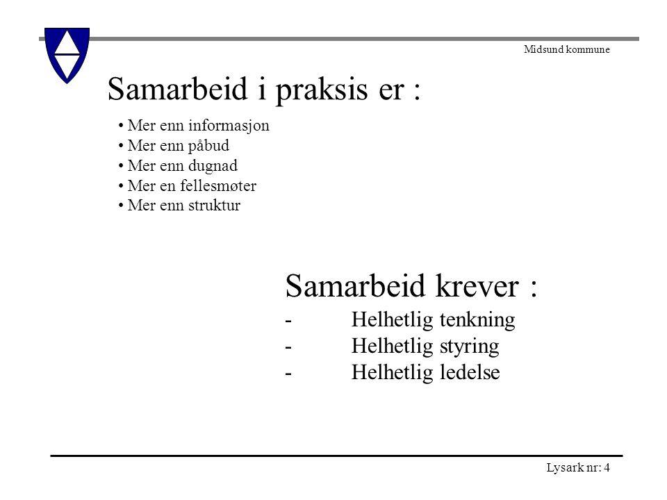 Midsund kommune Lysark nr: 5 Lynkurs i samarbeid: De seks viktigste orden er: Jeg innrømmer at jeg tok feil .
