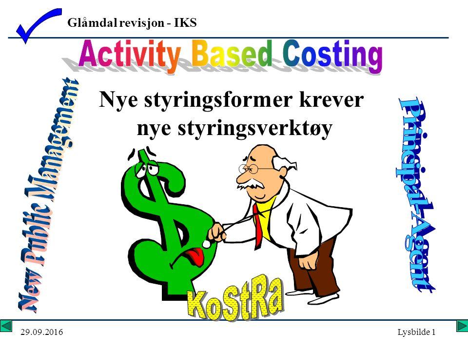 Glåmdal revisjon - IKS 29.09.2016Lysbilde 1 Nye styringsformer krever nye styringsverktøy