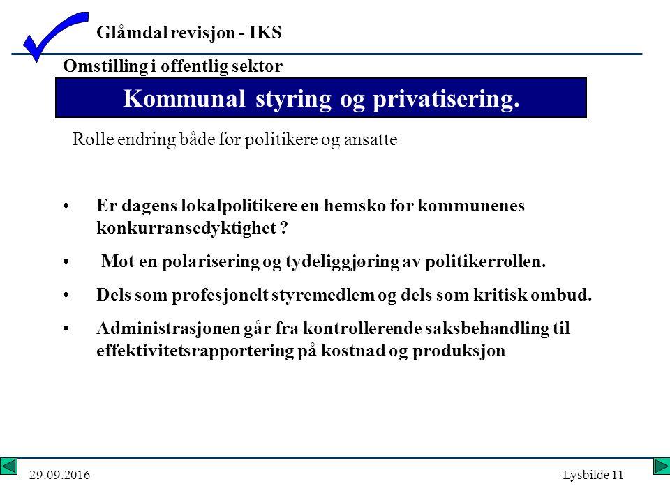 Glåmdal revisjon - IKS 29.09.2016Lysbilde 11 Er dagens lokalpolitikere en hemsko for kommunenes konkurransedyktighet .