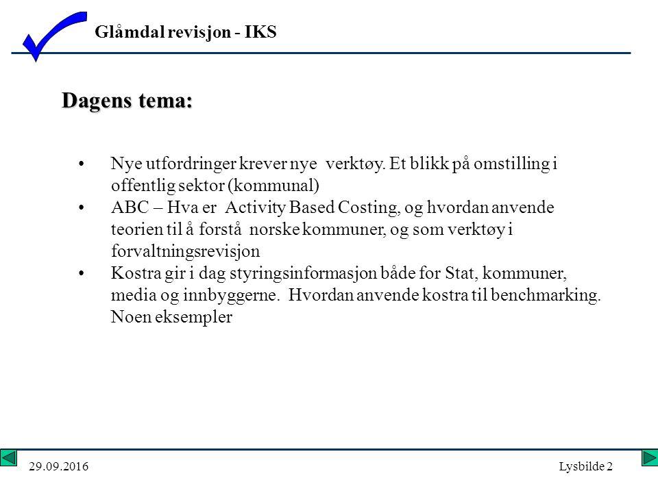Glåmdal revisjon - IKS 29.09.2016Lysbilde 2 Dagens tema: Nye utfordringer krever nye verktøy.