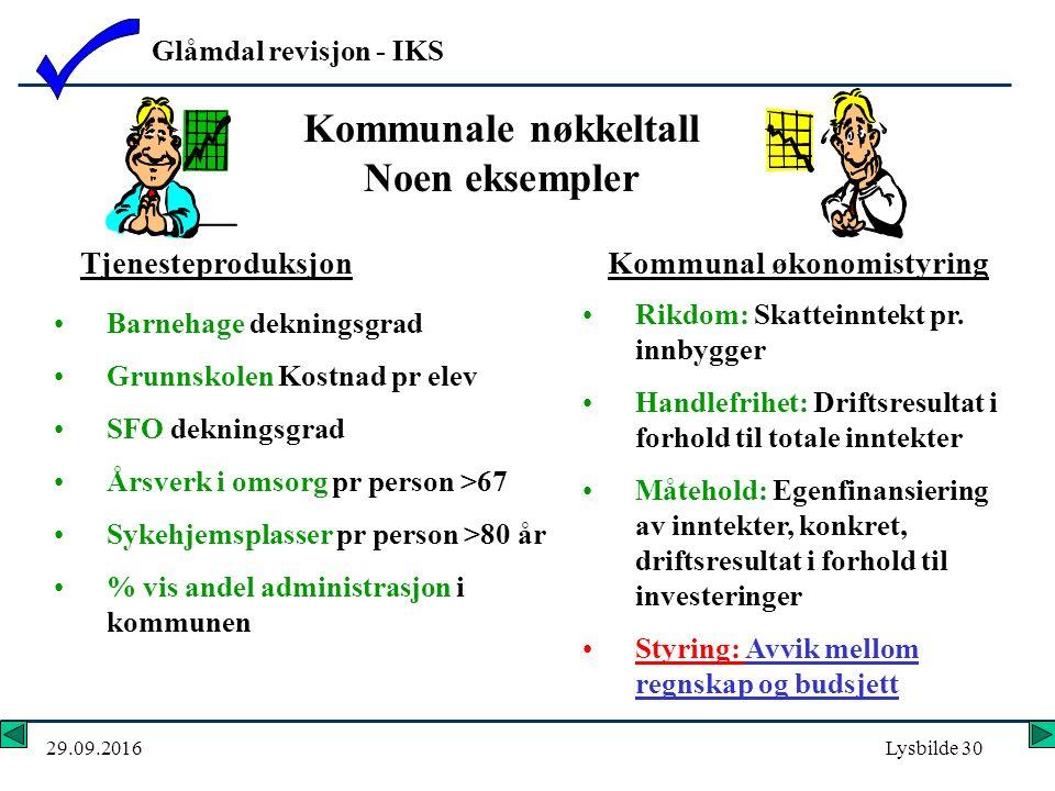 Glåmdal revisjon - IKS 29.09.2016Lysbilde 30 Kommunale nøkkeltall Noen eksempler Rikdom: Skatteinntekt pr.