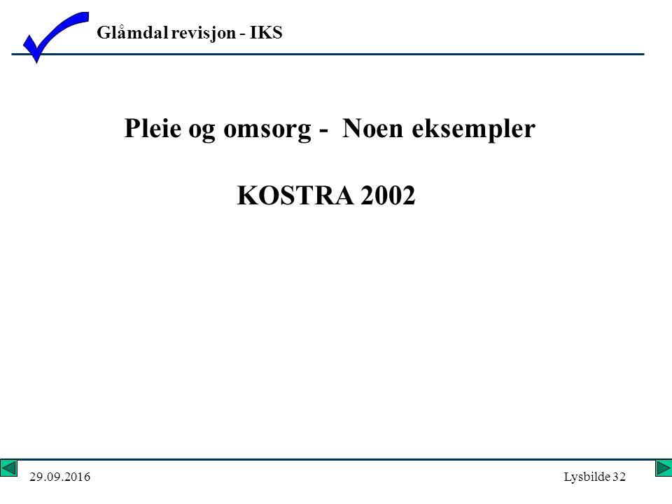 Glåmdal revisjon - IKS 29.09.2016Lysbilde 32 Pleie og omsorg - Noen eksempler KOSTRA 2002