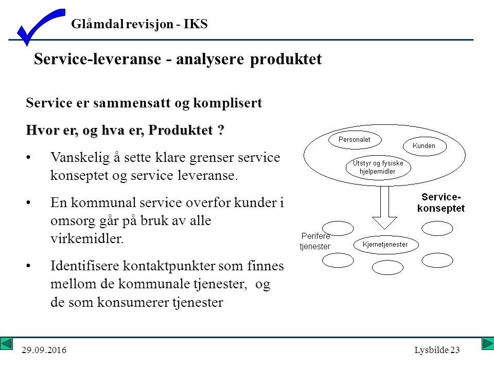 Glåmdal revisjon - IKS 29.09.2016Lysbilde 23 Service-leveranse - analysere produktet Service er sammensatt og komplisert Hvor er, og hva er, Produktet .