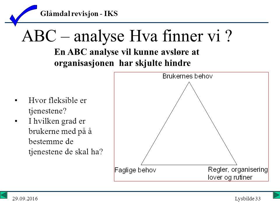 Glåmdal revisjon - IKS 29.09.2016Lysbilde 33 ABC – analyse Hva finner vi .
