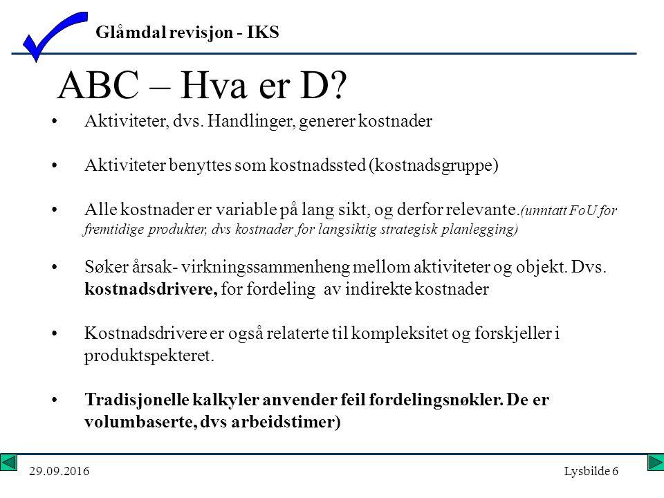 Glåmdal revisjon - IKS 29.09.2016Lysbilde 6 Aktiviteter, dvs.
