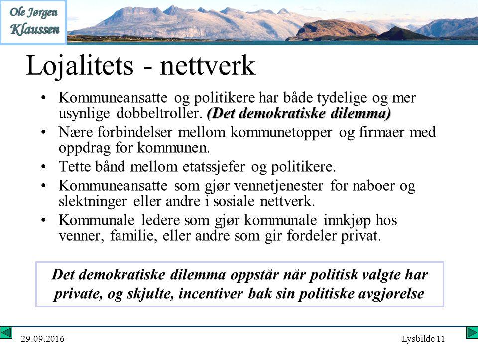 29.09.2016Lysbilde 11 Lojalitets - nettverk (Det demokratiske dilemma)Kommuneansatte og politikere har både tydelige og mer usynlige dobbeltroller.