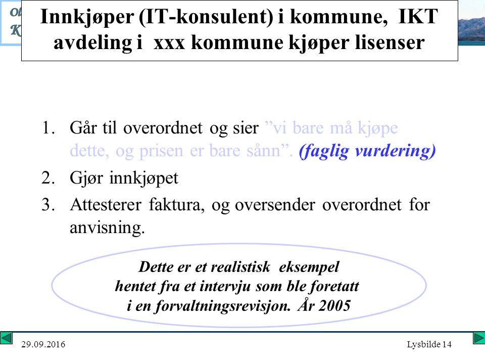 29.09.2016Lysbilde 14 Innkjøper (IT-konsulent) i kommune, IKT avdeling i xxx kommune kjøper lisenser 1.Går til overordnet og sier vi bare må kjøpe dette, og prisen er bare sånn .