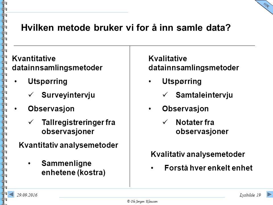 © Ole Jørgen Klaussen OJK 29.09.2016Lysbilde 19 Hvilken metode bruker vi for å inn samle data? Kvantitative datainnsamlingsmetoder Utspørring Surveyin
