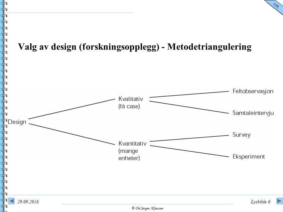 © Ole Jørgen Klaussen OJK 29.09.2016Lysbilde 6 Valg av design (forskningsopplegg) - Metodetriangulering