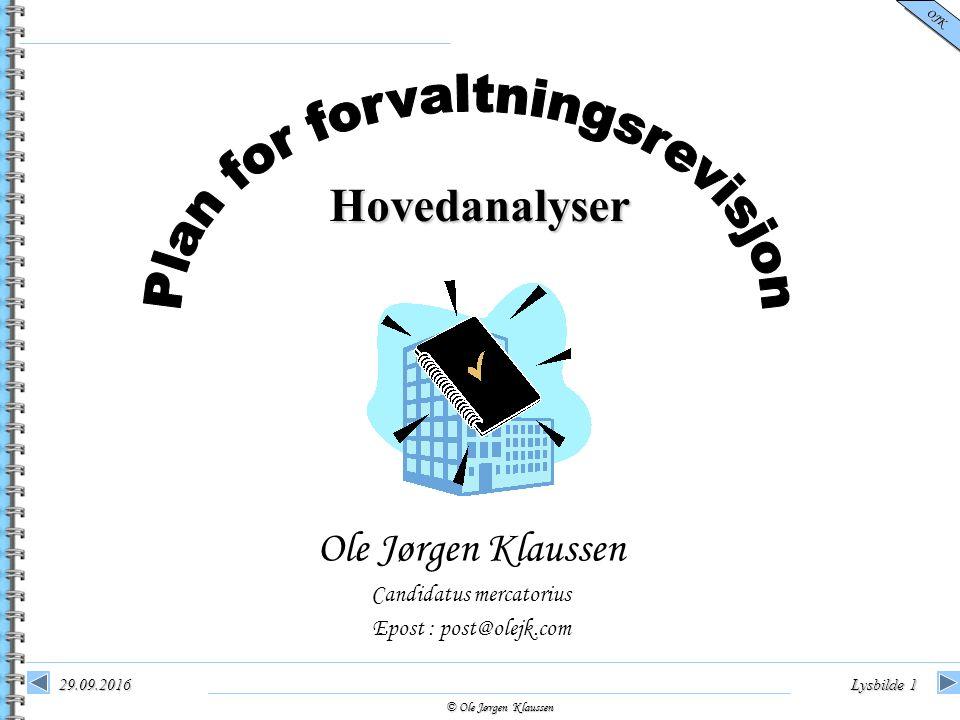 © Ole Jørgen Klaussen OJK 29.09.2016Lysbilde 1 Hovedanalyser Ole Jørgen Klaussen Candidatus mercatorius Epost : post@olejk.com