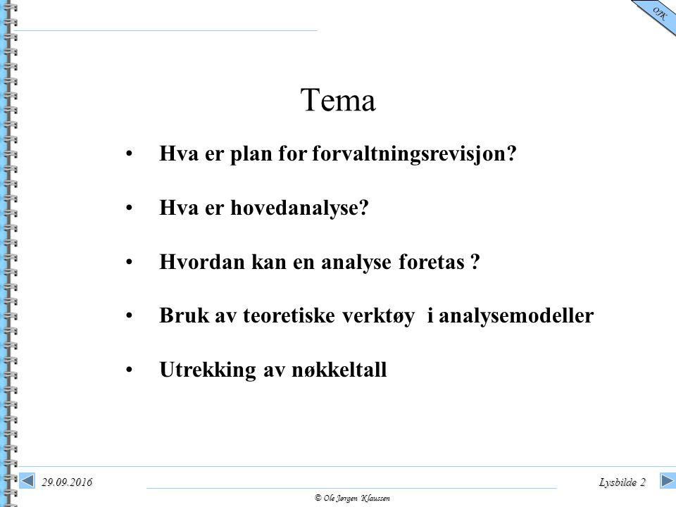 © Ole Jørgen Klaussen OJK 29.09.2016Lysbilde 2 Hva er plan for forvaltningsrevisjon? Hva er hovedanalyse? Hvordan kan en analyse foretas ? Bruk av teo