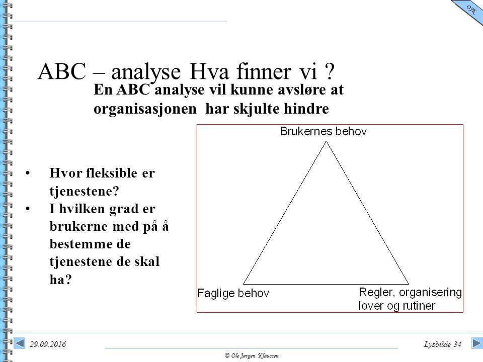 © Ole Jørgen Klaussen OJK 29.09.2016Lysbilde 34 ABC – analyse Hva finner vi ? En ABC analyse vil kunne avsløre at organisasjonen har skjulte hindre Hv