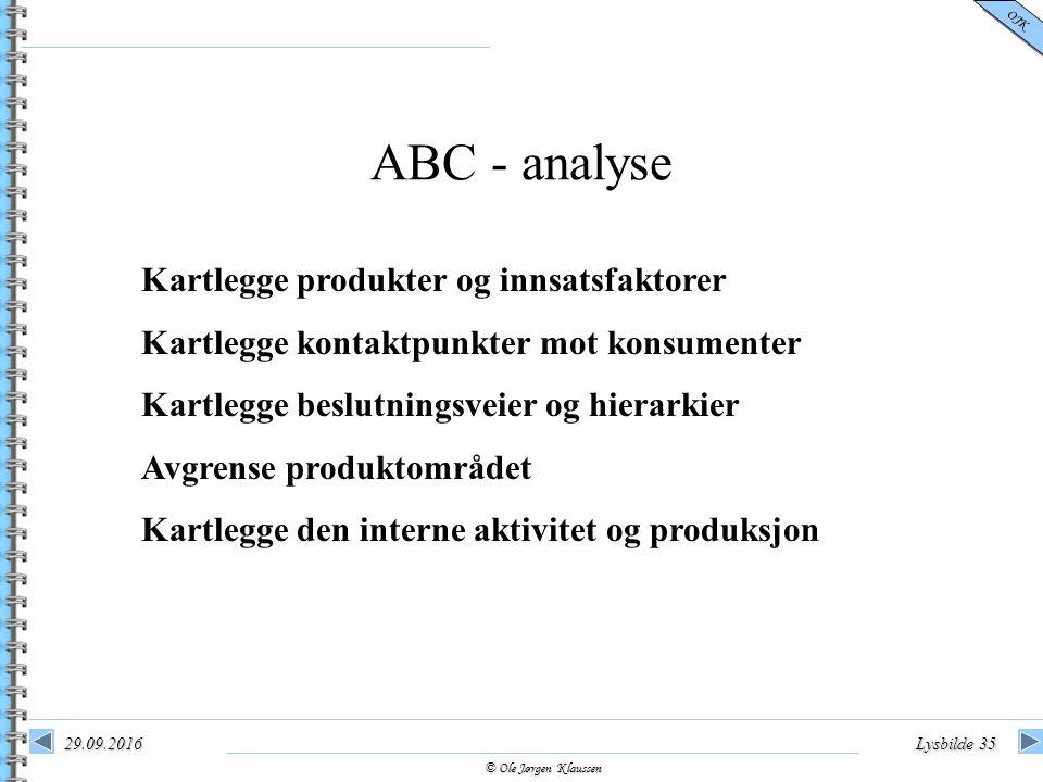 © Ole Jørgen Klaussen OJK 29.09.2016Lysbilde 35 ABC - analyse Kartlegge produkter og innsatsfaktorer Kartlegge kontaktpunkter mot konsumenter Kartlegg