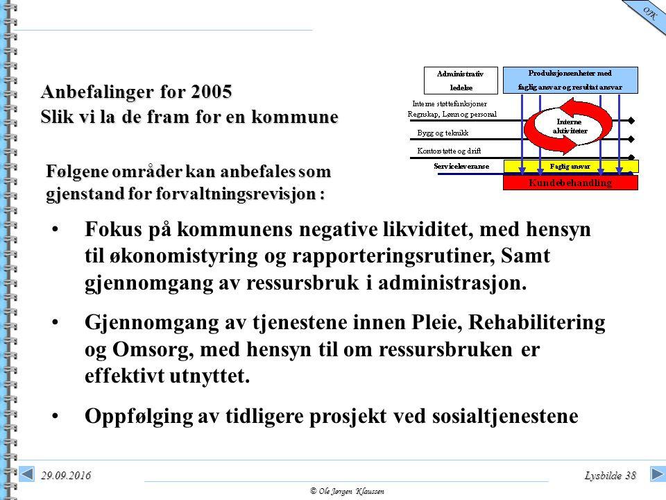 © Ole Jørgen Klaussen OJK 29.09.2016Lysbilde 38 Anbefalinger for 2005 Slik vi la de fram for en kommune Følgene områder kan anbefales som gjenstand fo