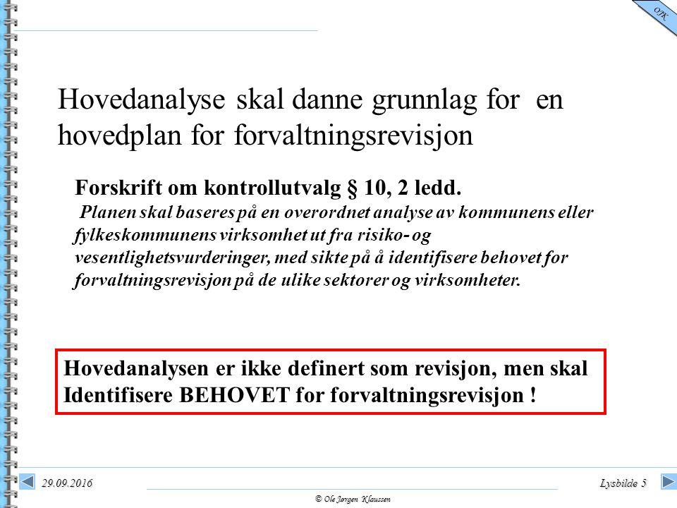 © Ole Jørgen Klaussen OJK 29.09.2016Lysbilde 5 Hovedanalyse skal danne grunnlag for en hovedplan for forvaltningsrevisjon Forskrift om kontrollutvalg § 10, 2 ledd.