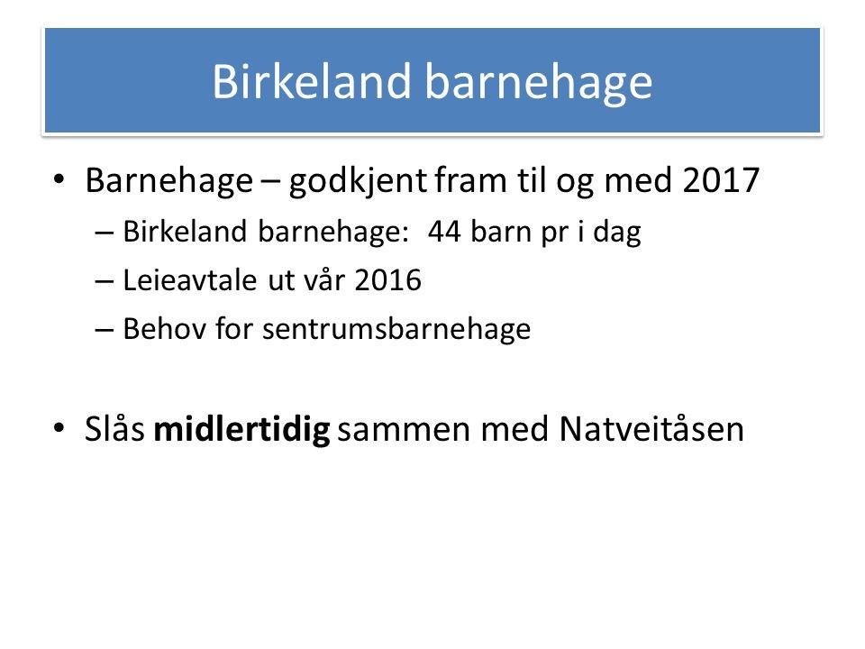 Flytte Birkeland barnehage midlertidig til Natveitåsen Beholde 1 – 2 avd.