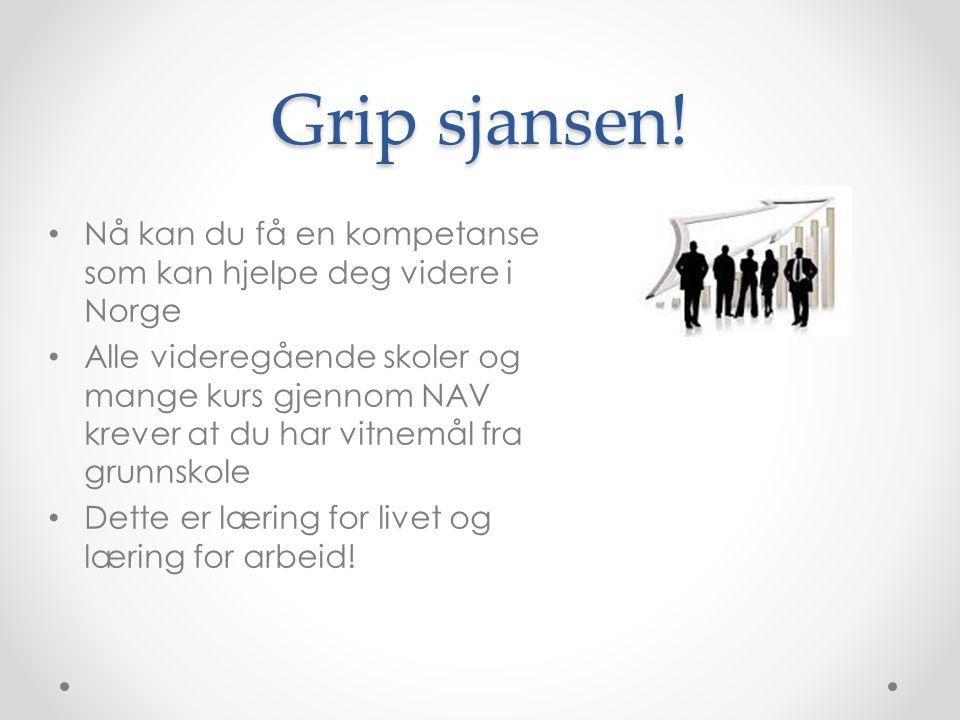 Grip sjansen! Nå kan du få en kompetanse som kan hjelpe deg videre i Norge Alle videregående skoler og mange kurs gjennom NAV krever at du har vitnemå