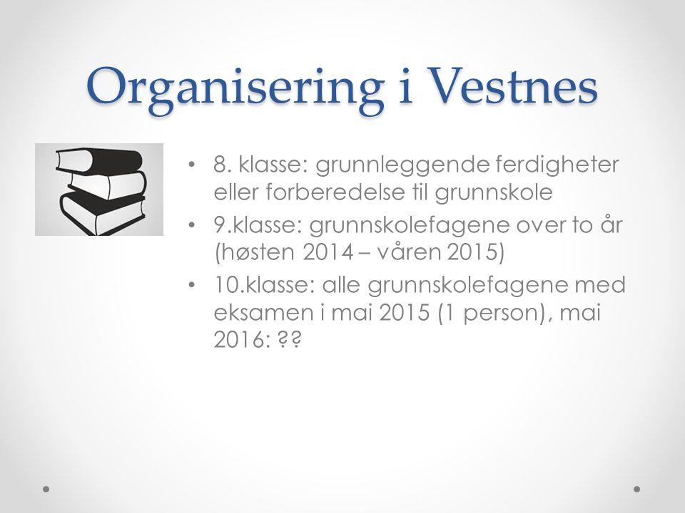 Organisering i Vestnes 8. klasse: grunnleggende ferdigheter eller forberedelse til grunnskole 9.klasse: grunnskolefagene over to år (høsten 2014 – vår