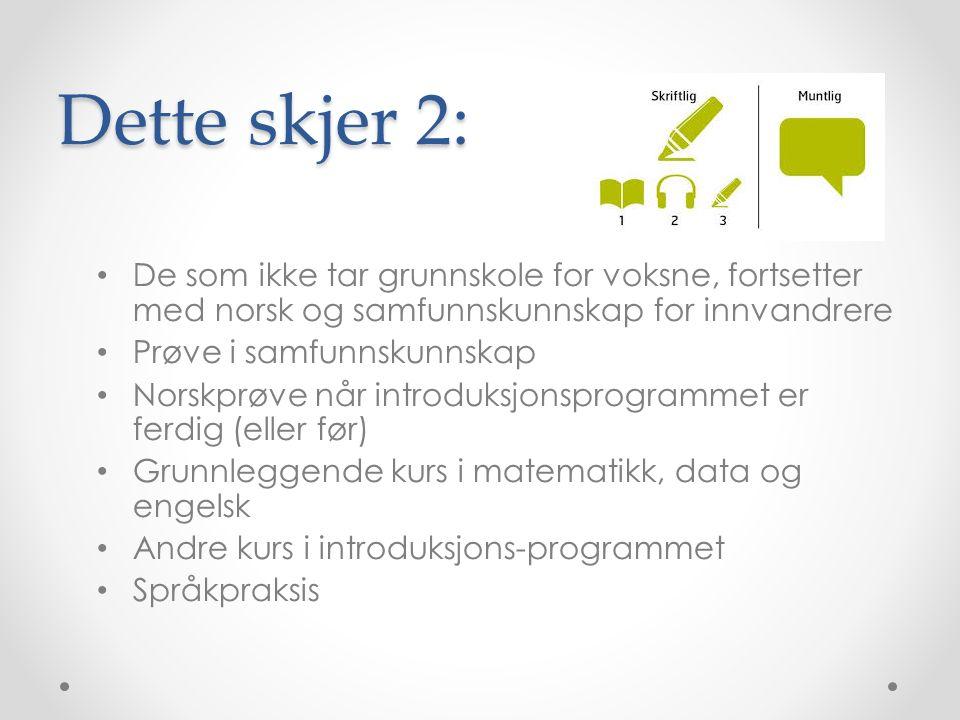 Dette skjer 2: De som ikke tar grunnskole for voksne, fortsetter med norsk og samfunnskunnskap for innvandrere Prøve i samfunnskunnskap Norskprøve når introduksjonsprogrammet er ferdig (eller før) Grunnleggende kurs i matematikk, data og engelsk Andre kurs i introduksjons-programmet Språkpraksis