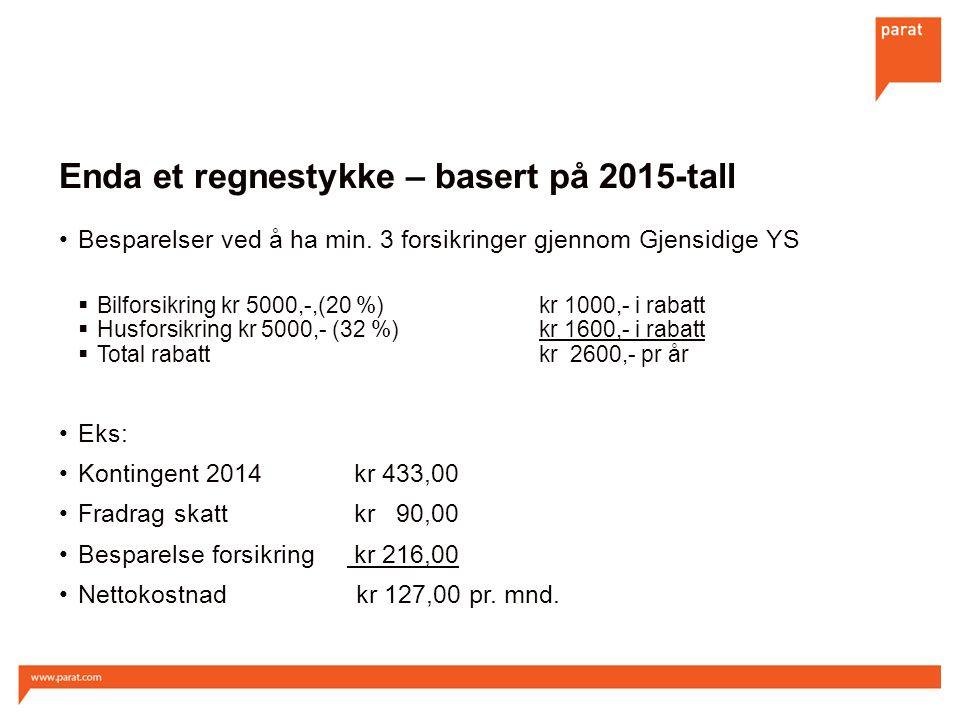 Enda et regnestykke – basert på 2015-tall Besparelser ved å ha min. 3 forsikringer gjennom Gjensidige YS  Bilforsikring kr 5000,-,(20 %)kr 1000,- i r