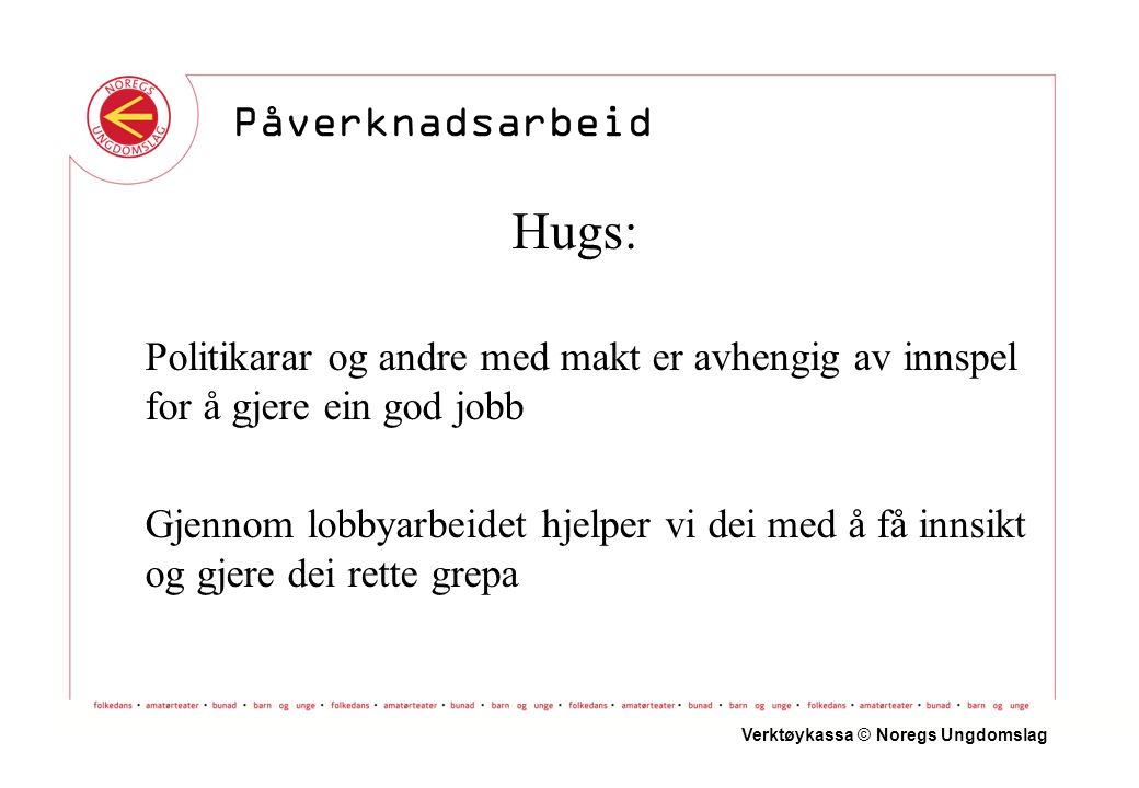 Hugs: Politikarar og andre med makt er avhengig av innspel for å gjere ein god jobb Gjennom lobbyarbeidet hjelper vi dei med å få innsikt og gjere dei