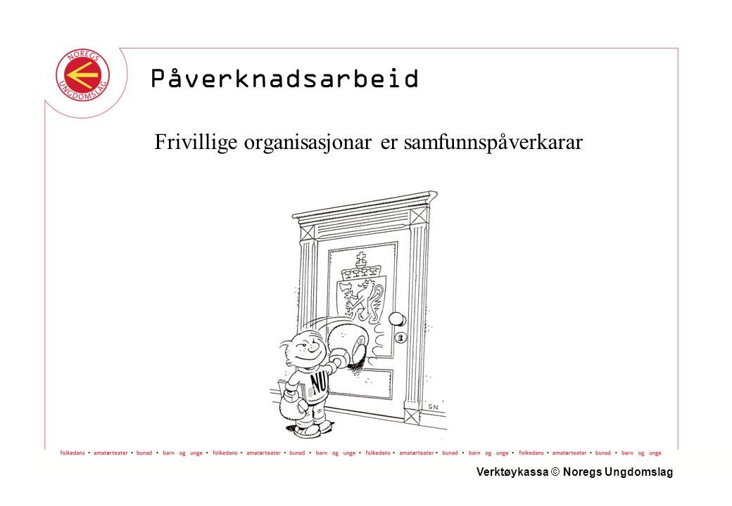 Frivillige organisasjonar er samfunnspåverkarar Verktøykassa © Noregs Ungdomslag Påverknadsarbeid