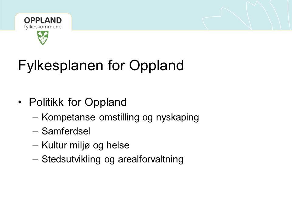 Fylkesplanen for Oppland Politikk for Oppland –Kompetanse omstilling og nyskaping –Samferdsel –Kultur miljø og helse –Stedsutvikling og arealforvaltning