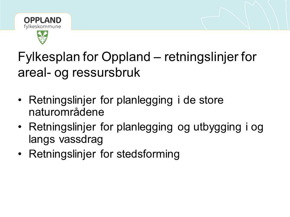 Fylkesplan for Oppland – retningslinjer for areal- og ressursbruk Retningslinjer for planlegging i de store naturområdene Retningslinjer for planlegging og utbygging i og langs vassdrag Retningslinjer for stedsforming