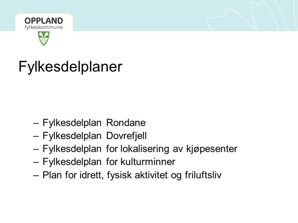 Fylkesdelplaner –Fylkesdelplan Rondane –Fylkesdelplan Dovrefjell –Fylkesdelplan for lokalisering av kjøpesenter –Fylkesdelplan for kulturminner –Plan for idrett, fysisk aktivitet og friluftsliv