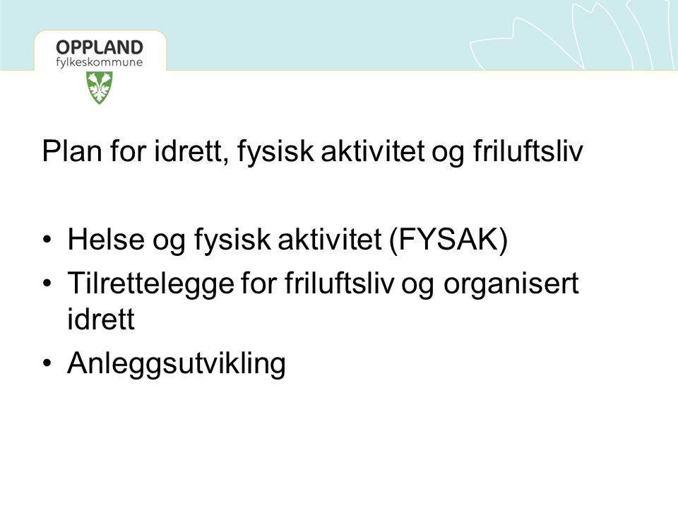 Plan for idrett, fysisk aktivitet og friluftsliv Helse og fysisk aktivitet (FYSAK) Tilrettelegge for friluftsliv og organisert idrett Anleggsutvikling