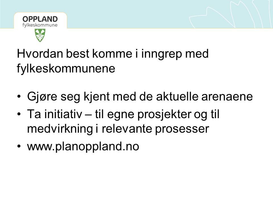 Hvordan best komme i inngrep med fylkeskommunene Gjøre seg kjent med de aktuelle arenaene Ta initiativ – til egne prosjekter og til medvirkning i relevante prosesser www.planoppland.no