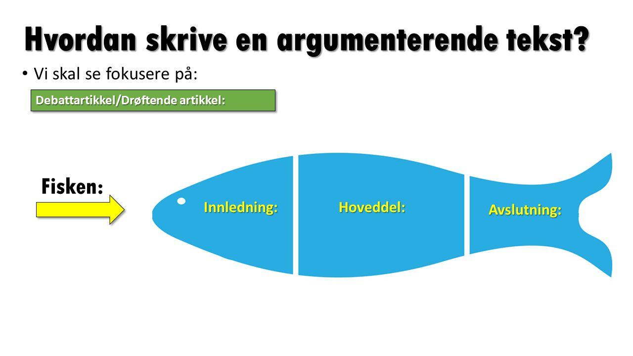 Vi skal se fokusere på: Debattartikkel/Drøftende artikkel: Innledning: Hoveddel: Avslutning: Fisken: