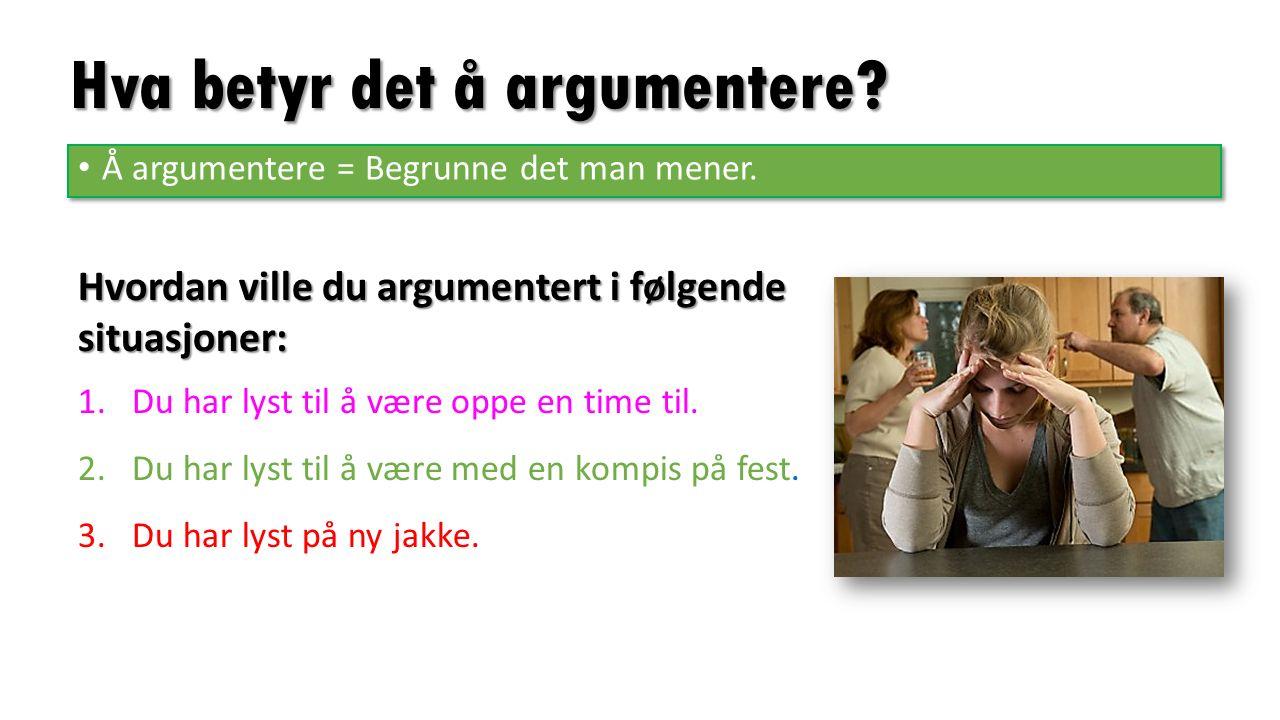 Hva betyr det å argumentere. Å argumentere = Begrunne det man mener.