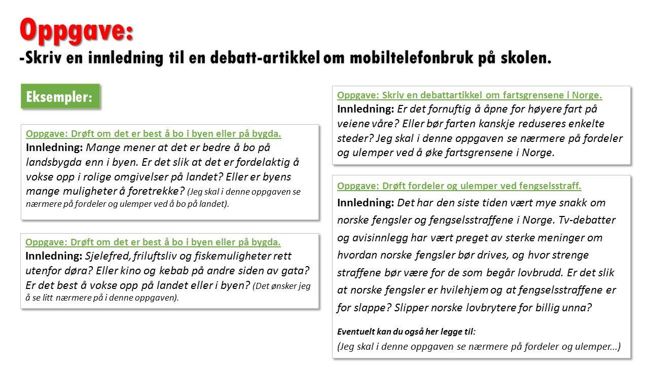 Oppgave: Oppgave: -Skriv en innledning til en debatt-artikkel om mobiltelefonbruk på skolen.