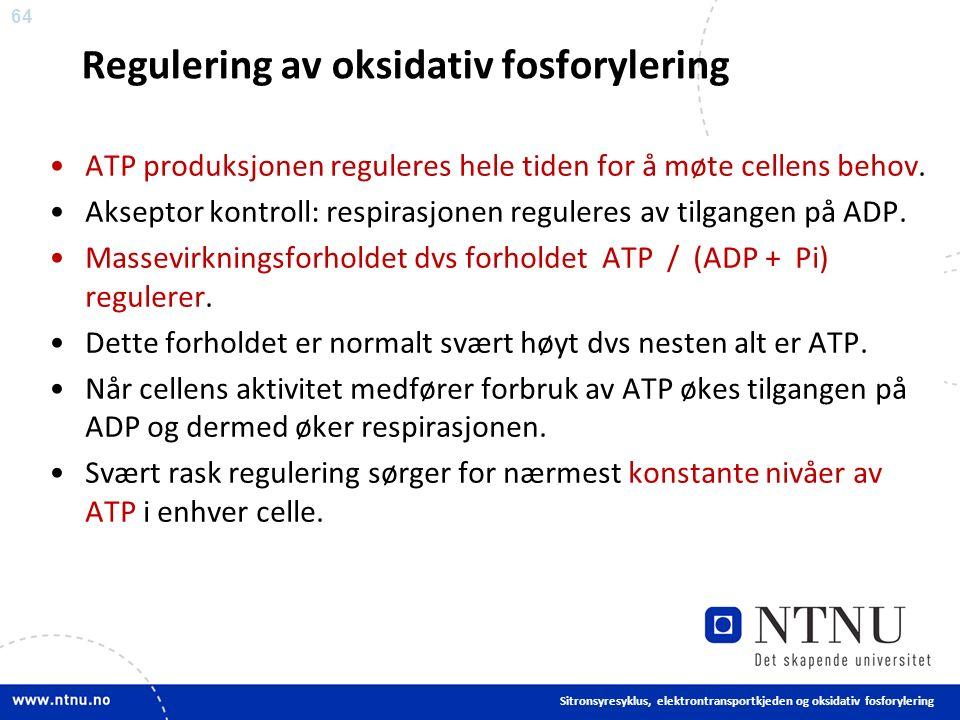 64 Regulering av oksidativ fosforylering ATP produksjonen reguleres hele tiden for å møte cellens behov.