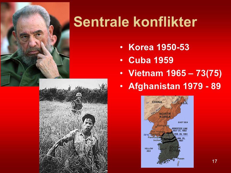 Sentrale konflikter Korea 1950-53 Cuba 1959 Vietnam 1965 – 73(75) Afghanistan 1979 - 89 17