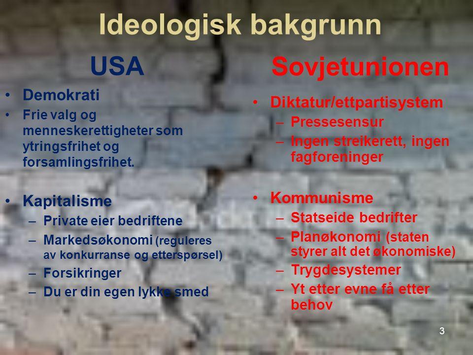 Ideologisk bakgrunn USA Demokrati Frie valg og menneskerettigheter som ytringsfrihet og forsamlingsfrihet. Kapitalisme –Private eier bedriftene –Marke