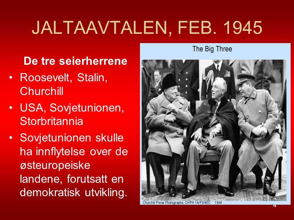 JALTAAVTALEN, FEB. 1945 De tre seierherrene Roosevelt, Stalin, Churchill USA, Sovjetunionen, Storbritannia Sovjetunionen skulle ha innflytelse over de