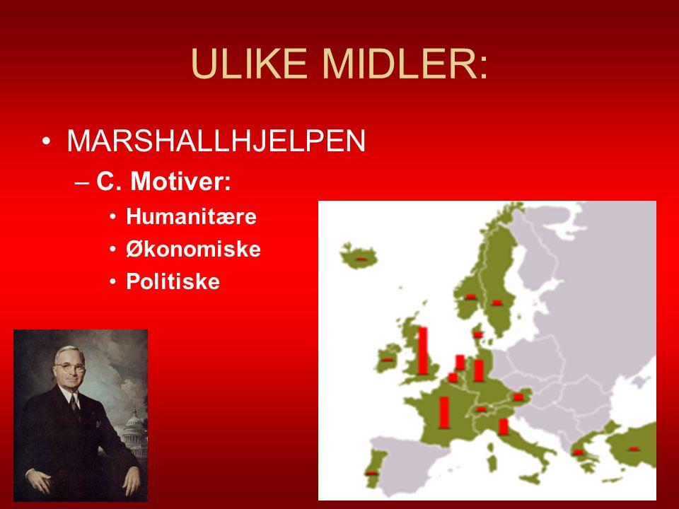 ULIKE MIDLER: MARSHALLHJELPEN –C. Motiver: Humanitære Økonomiske Politiske 8