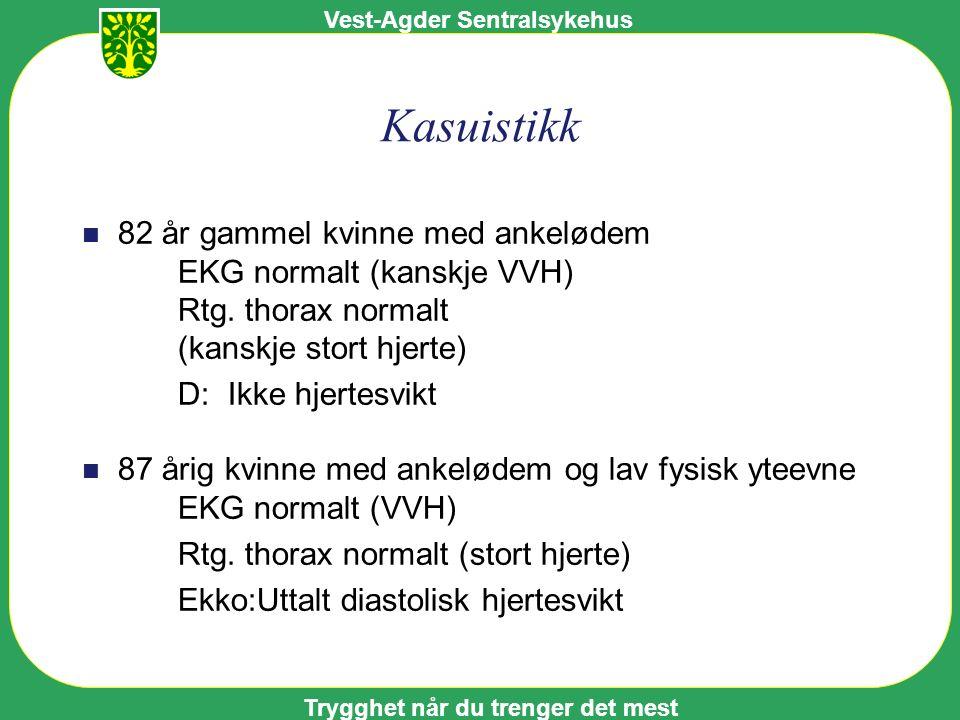 Vest-Agder Sentralsykehus Trygghet når du trenger det mest Kasuistikk n 82 år gammel kvinne med ankelødem EKG normalt (kanskje VVH) Rtg.