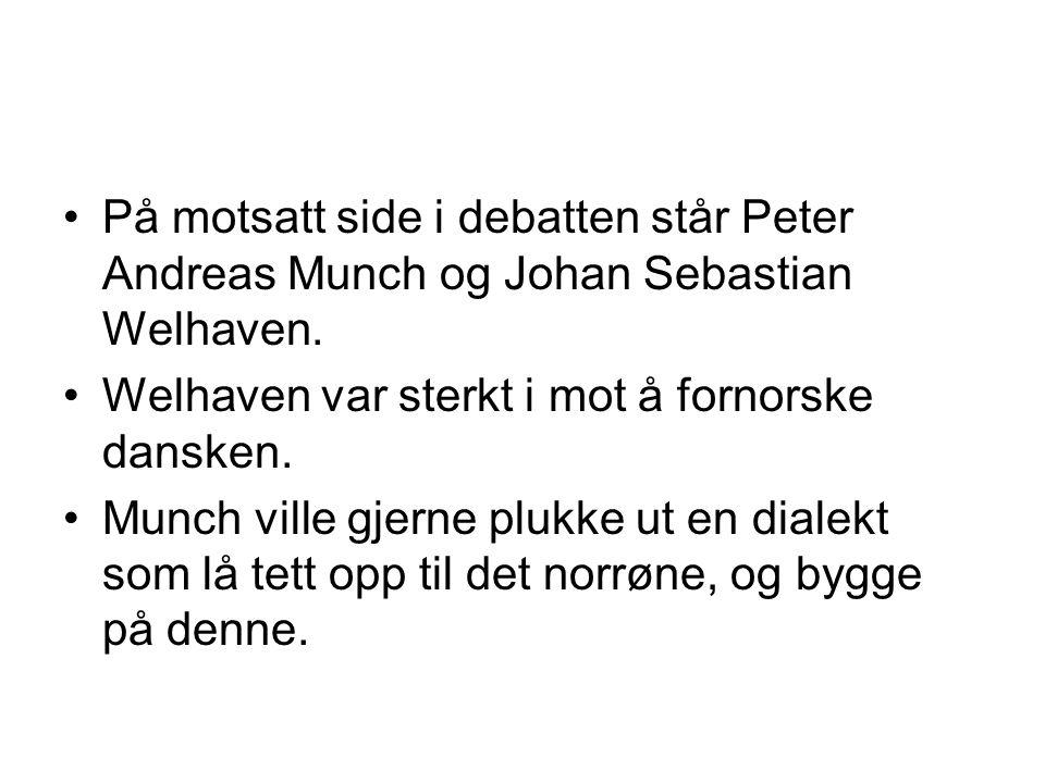 På motsatt side i debatten står Peter Andreas Munch og Johan Sebastian Welhaven.