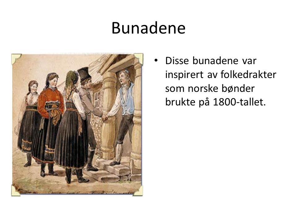 Bunadene Disse bunadene var inspirert av folkedrakter som norske bønder brukte på 1800-tallet.