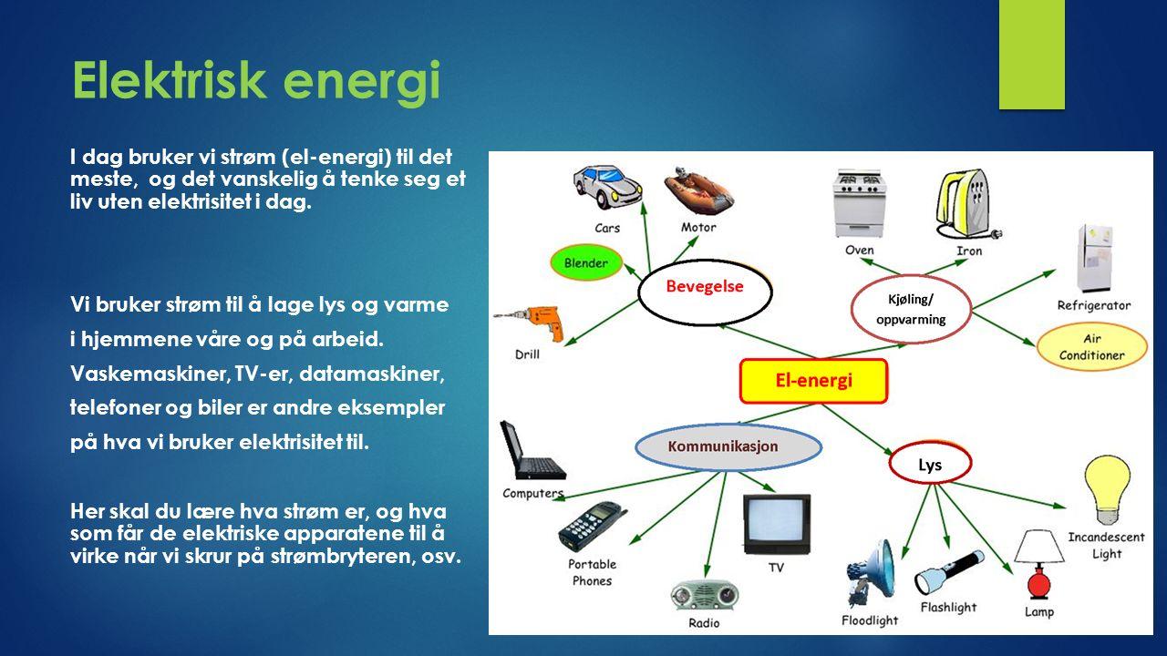 Elektrisk energi I dag bruker vi strøm (el-energi) til det meste, og det vanskelig å tenke seg et liv uten elektrisitet i dag.