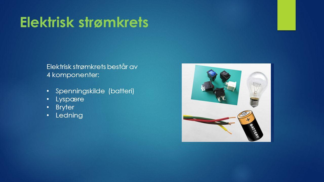 Elektrisk strømkrets Elektrisk strømkrets består av 4 komponenter: Spenningskilde (batteri) Lyspære Bryter Ledning