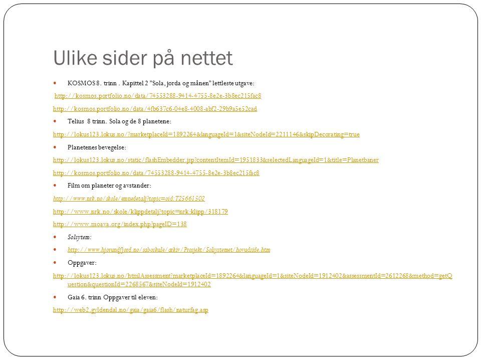 Ulike sider på nettet KOSMOS 8. trinn.