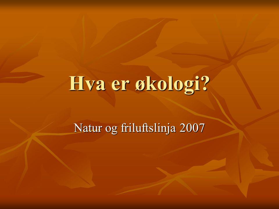 Hva er økologi Natur og friluftslinja 2007