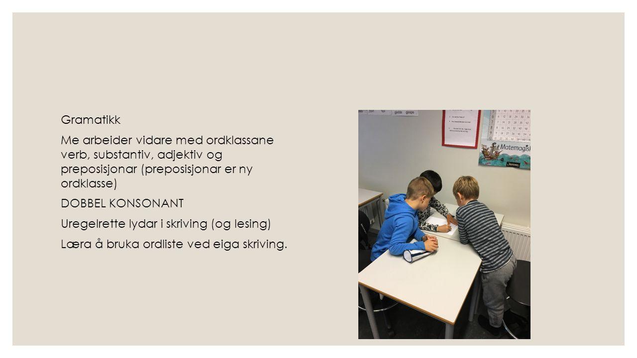 Gramatikk Me arbeider vidare med ordklassane verb, substantiv, adjektiv og preposisjonar (preposisjonar er ny ordklasse) DOBBEL KONSONANT Uregelrette lydar i skriving (og lesing) Læra å bruka ordliste ved eiga skriving.
