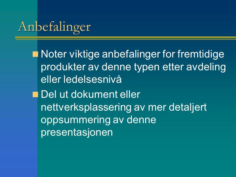 Anbefalinger Noter viktige anbefalinger for fremtidige produkter av denne typen etter avdeling eller ledelsesnivå Del ut dokument eller nettverksplassering av mer detaljert oppsummering av denne presentasjonen